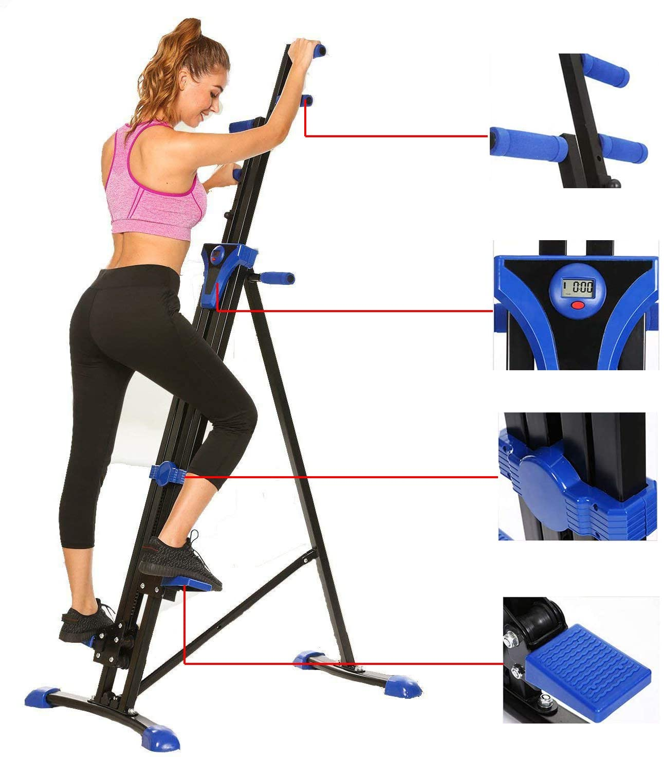 Steel Alloy Stair Climber Machine, Home Gym Exercise Folding Climbing Machine,Vertical Climbing Exercise Machine, Fitness Stepper Gym, Whole Body Cardio Workout Training
