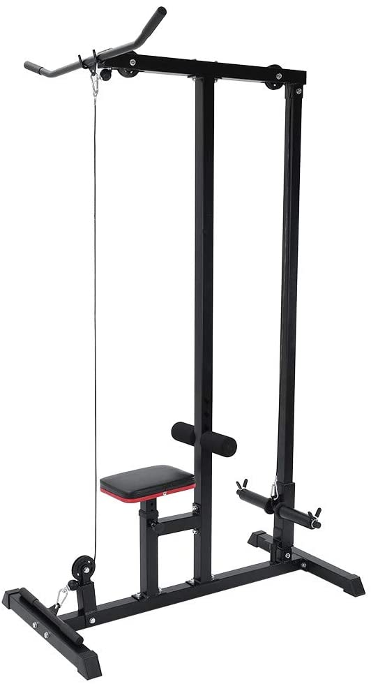 gofh Home Gym Body LAT Machine,Pull Down Machine Low Bar Cable Fitness Training Weigh Tension Machine Home Fitness Equipment Black